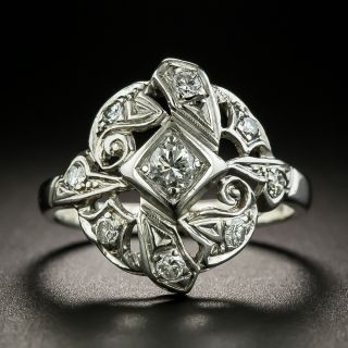 Art Deco Asymmetrical Diamond Dinner Ring - 2