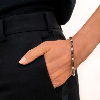 Art Deco Diamond and Black Enamel Link Bracelet