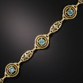 Art Deco Zircon Link  Bracelet - 4
