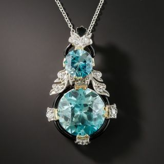Art Deco Blue Zircon Diamond Pendant Necklace - 1
