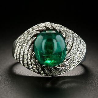 Art Deco Cabochon Emerald and Diamond Swirl Ring - 2