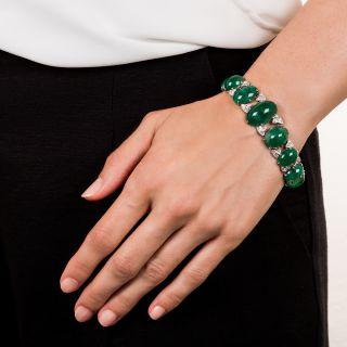 Art Deco Cabochon Emerald Platinum Diamond Bracelet - 75 Carats