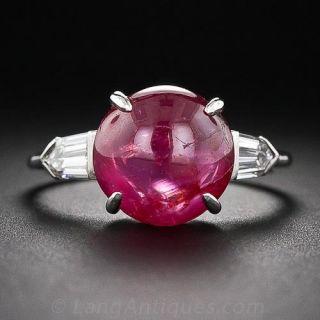 Art Deco Cabochon Ruby Platinum Diamond Ring - 1