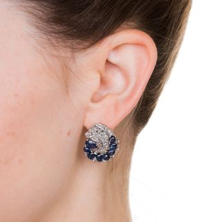 Art Deco Cabochon Sapphire and Diamond Earrings