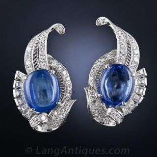 Vintage Cabochon Sapphire and Diamond Earrings - 1