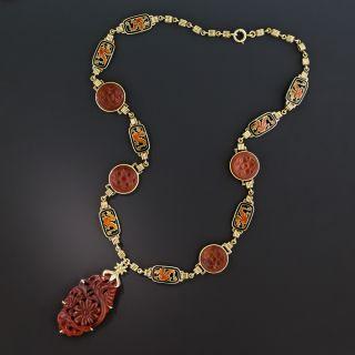 Art Deco Carnelian and Enamel Necklace - 2