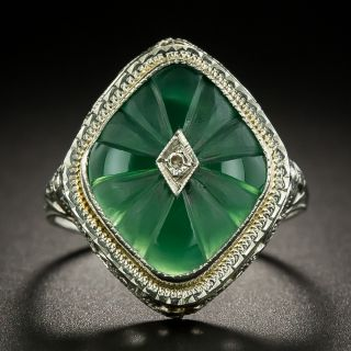 Art Deco Carved Green Chalcedony and Diamond Ring - 3