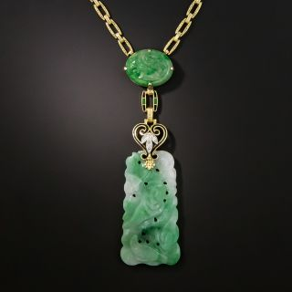Art Deco Carved Jade and Diamond Necklace  - 2