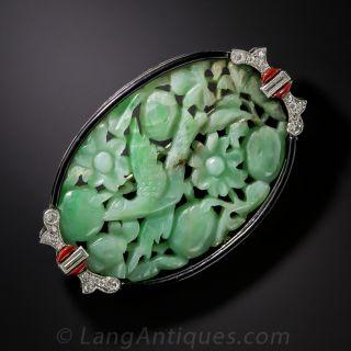Art Deco Carved Jade, Diamond and Enamel Brooch - 3