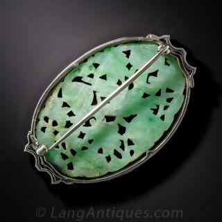 Art Deco Carved Jade, Diamond and Enamel Brooch