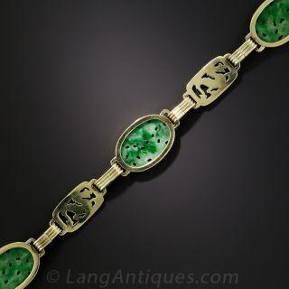 Art Deco Carved Jadeite and Enamel Bracelet