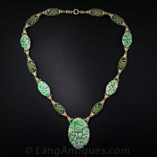 Art Deco Carved Natural Jade, Enameled Necklace and Bracelet