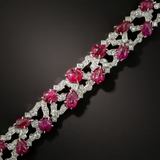 Art Deco Carved Ruby and Diamond Bracelet by Trabert & Hoeffer