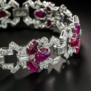 Art Deco Carved Ruby and Diamond Bracelet - 4