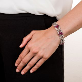 Art Deco Carved Ruby and Diamond Bracelet