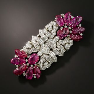 Art Deco Carved Ruby and Diamond Clips/Brooch - 3
