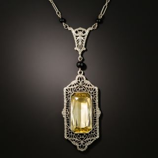 Art Deco Citrine and Onyx Necklace - 3