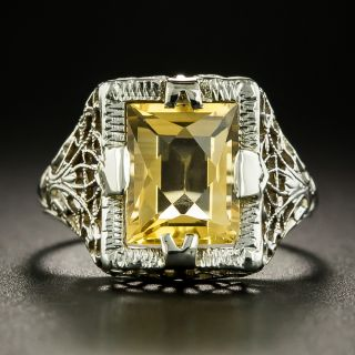 Art Deco Citrine Filigree Ring - 3