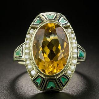 Art Deco Citrine, Pearl and Enamel Ring - 2