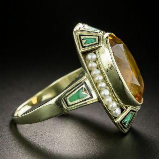 Art Deco Citrine, Pearl and Enamel Ring