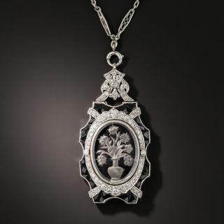 Art Deco Crystal, Diamond and Onyx Pendant Necklace - 3