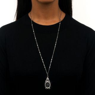 Art Deco Crystal, Diamond and Onyx Pendant Necklace