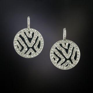 Art Deco Diamond and  Black Enamel Drop Earrings - 3