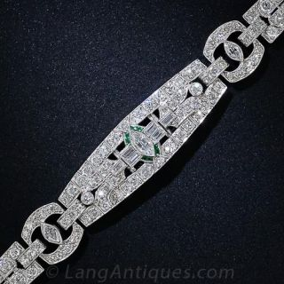 Art Deco Diamond and Calibre Emerald Bracelet