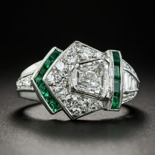 Art Deco .89 Carat Diamond and Calibre Emerald Ring - GIA D VS2 - 1