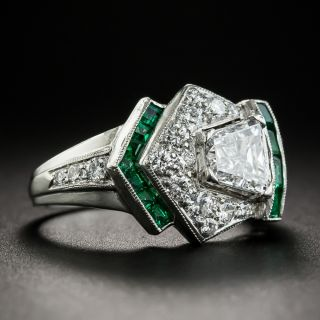 Art Deco Diamond and Calibre Emerald Ring - GIA D VS2