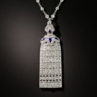 Art Deco Diamond and Calibre Sapphire Tassel Necklace - 2