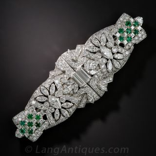 Art Deco Diamond and Emerald Dress Clips/Brooch  - 1