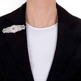 Art Deco Diamond and Emerald Dress Clips/Brooch