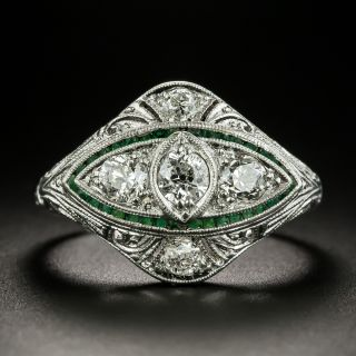 Art Deco Diamond and Green Glass Ring - 4