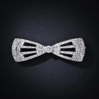 Art Deco Diamond and Onyx Bow Brooch - 1