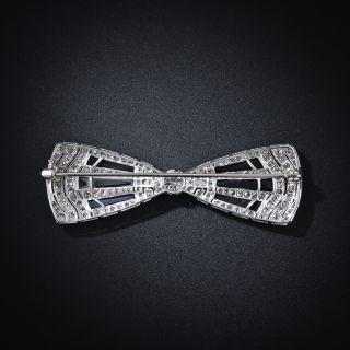 Art Deco Diamond and Onyx Bow Brooch