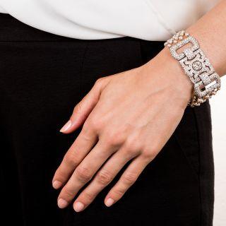 Art Deco Diamond and Pearl Bracelet with 2.10 Carat Center Diamond