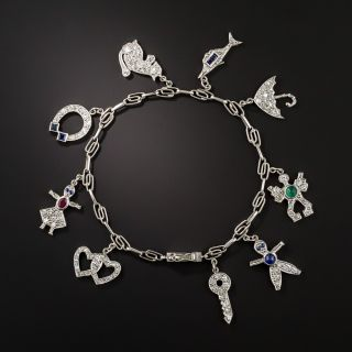Art Deco Diamond and Platinum 9 Charm Bracelet - 2