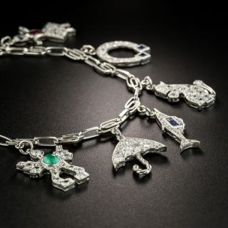 Art Deco Diamond and Platinum 9 Charm Bracelet
