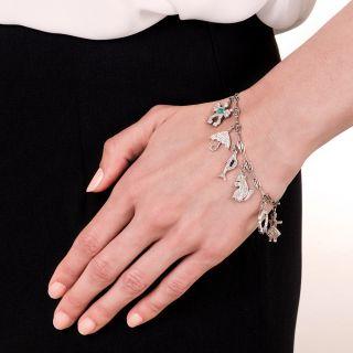 Art Deco Diamond and Platinum 9 Charm Bracelet