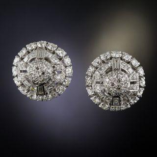 Art Deco Diamond and Platinum Dome Earrings - 1