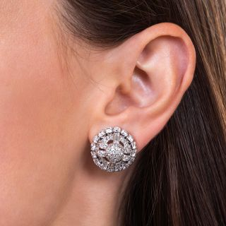 Art Deco Diamond and Platinum Dome Clip Earrings