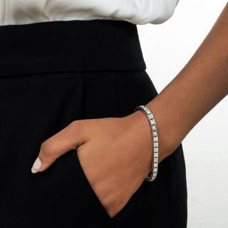 Art Deco Diamond and Platinum Line Bracelet