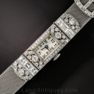 Art Deco Diamond and Platinum Mesh Ladies Wrist Watch - 1