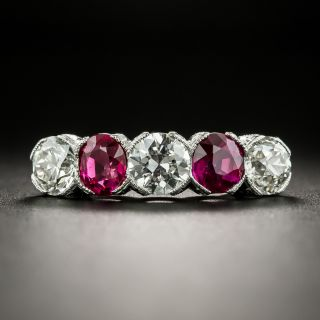 Art Deco Diamond and Ruby Five-Stone Ring - 2