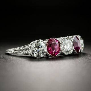 Art Deco Diamond and Ruby Five-Stone Ring