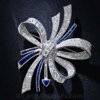 Art Deco Diamond and Sapphire Bow Brooch By Fougeray - 1