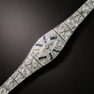 Art Deco Diamond and Sapphire Bracelet - 2