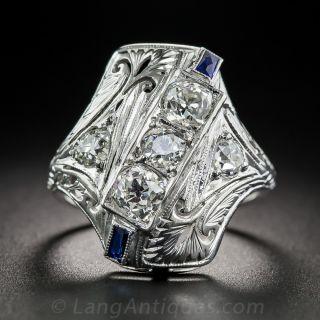 Art Deco Diamond and Sapphire Dinner Ring