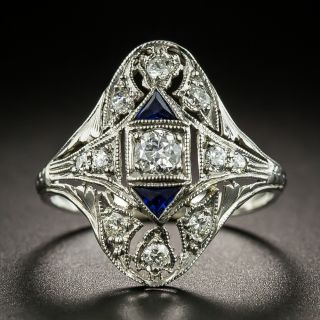 Art Deco Diamond and Sapphire Dinner Ring - 2
